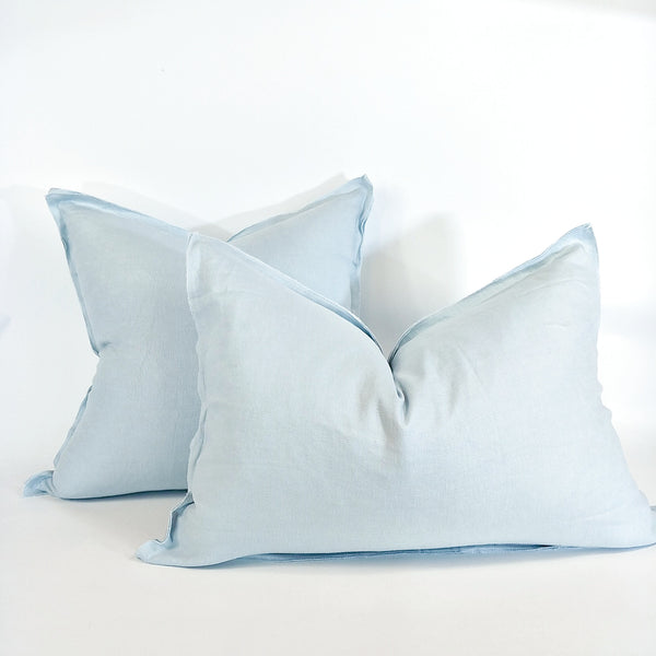 Provence Heavy Weight Pure French Linen Cushion in Two Sizes - Plush Feather Filled - Ice Blue