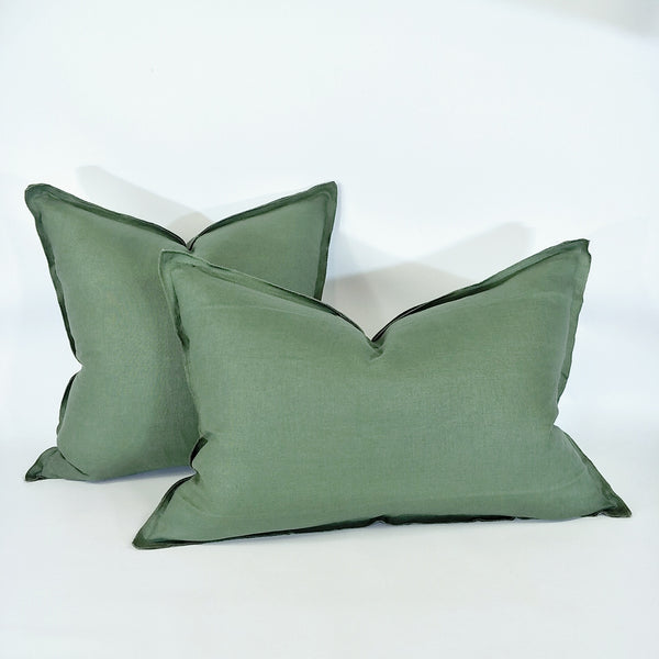 Provence Heavy Weight Pure French Linen Cushion in Two Sizes - Plush Feather Filled - Sage Green