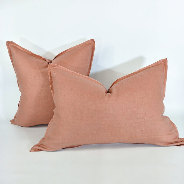 Provence Heavy Weight Pure French Linen Cushion in Two Sizes - Plush Feather Filled - Salmon