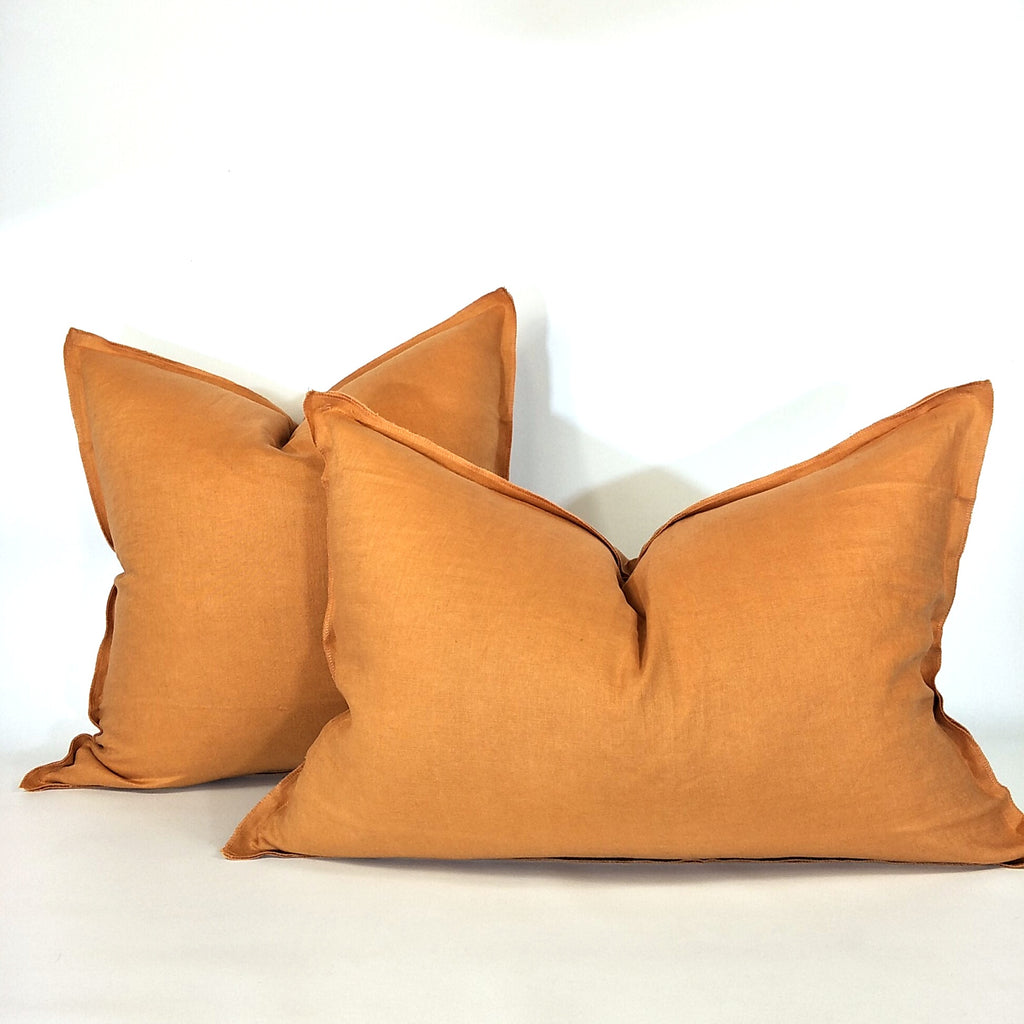 Provence Heavy Weight Pure French Linen Cushion in Two Sizes - Plush Feather Filled - Orange