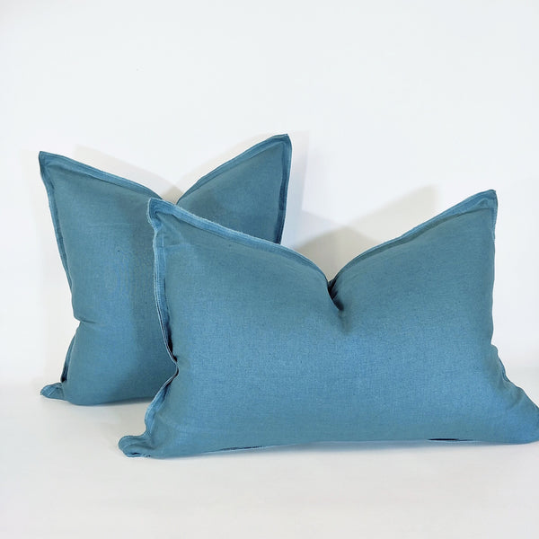 Provence Heavy Weight Pure French Linen Cushion in Two Sizes - Plush Feather Filled - Sapphire