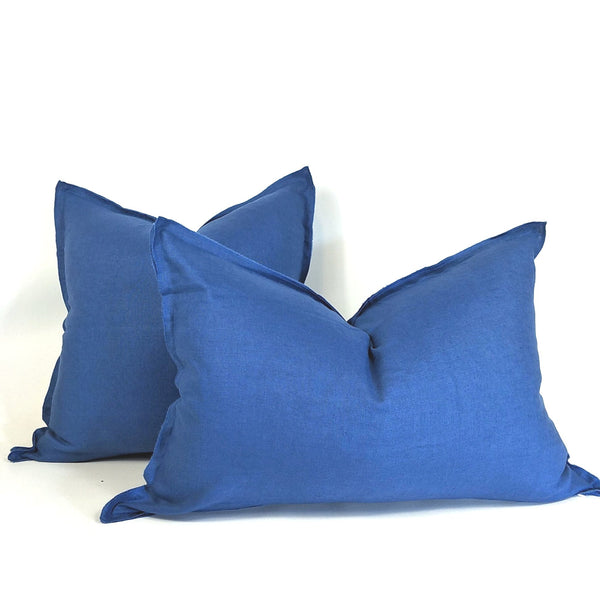 Provence Heavy Weight Pure French Linen Cushion in Two Sizes - Plush Feather Filled - Navy