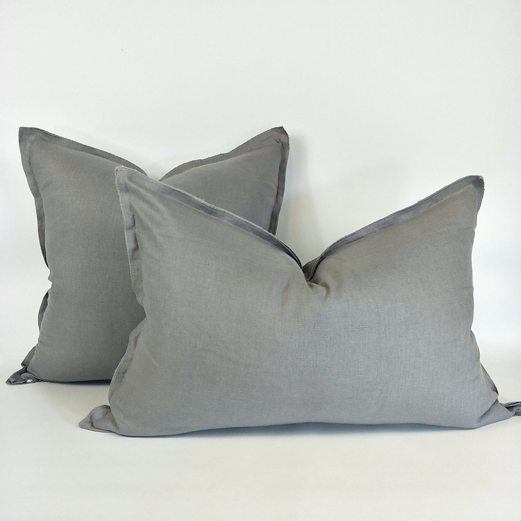 Provence Heavy Weight Pure French Linen Cushion in Two Sizes - Plush Feather Filled - Smoky Grey