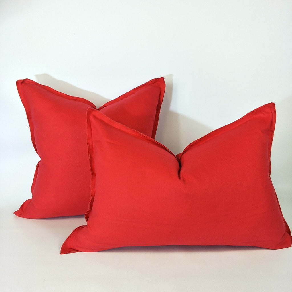 Provence Heavy Weight Pure French Linen Cushion in Two Sizes - Plush Feather Filled - Watermelo Red
