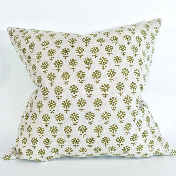 Tallinn Pista Artisan Block Printed Heavy Weight Pure French Linen Cushion 50cm Square - Feather Filled