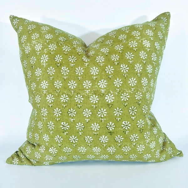 Bruges Pista Artisan Block Printed Heavy Weight Pure French Linen Cushion 50cm Square - Feather Filled- LAST ONE