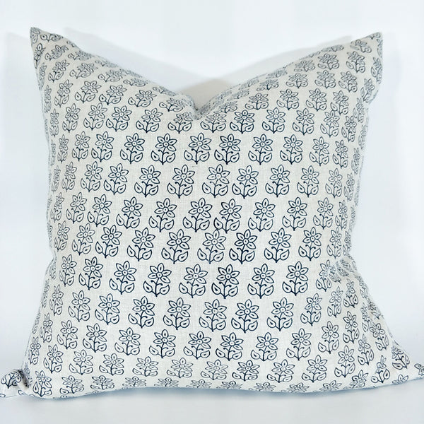 Budapest Indigo Artisan Block Printed Heavy Weight Pure French Linen Cushion 50cm Square - Feather Filled