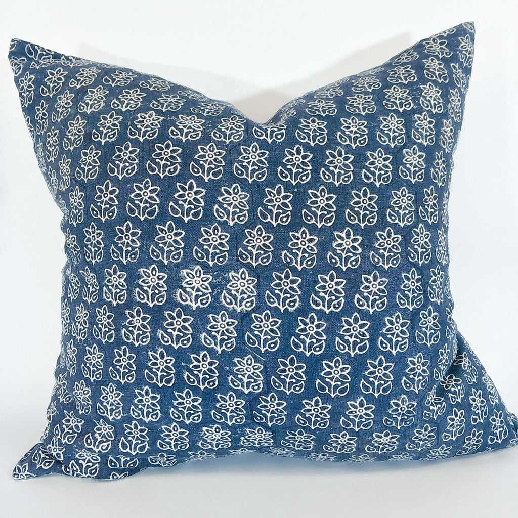 RESTOCK SOON - Annecy Indigo Artisan Block Printed Heavy Weight Pure French Linen Cushion 50cm Square - Feather Filled- LAST ONE