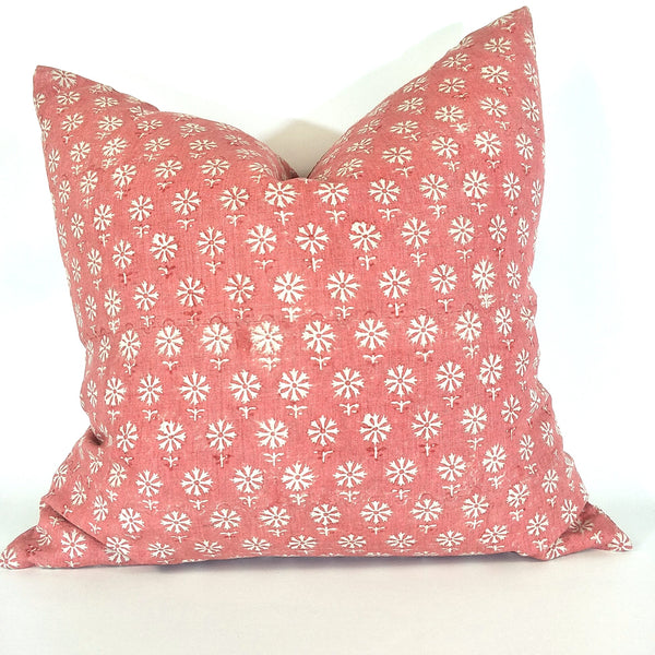 Flam Pink Artisan Block Printed Heavy Weight Pure French Linen Cushion 50cm Square - Feather Filled