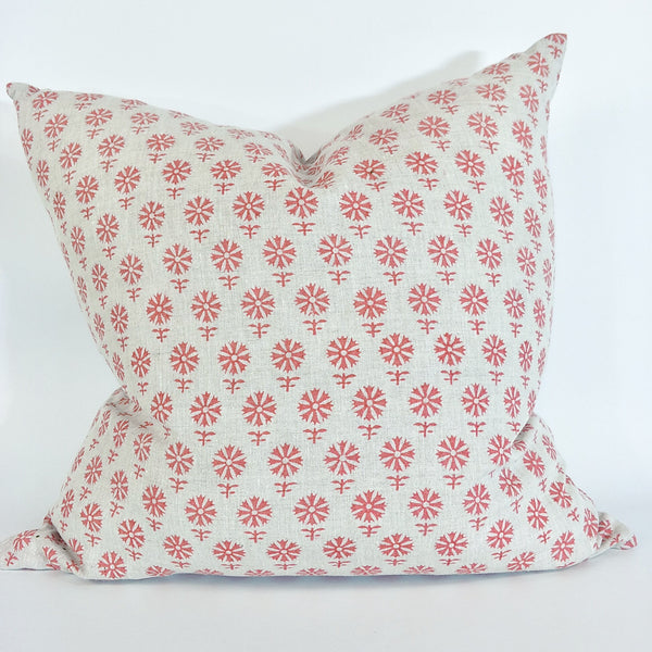 Olso Pink Artisan Block Printed Heavy Weight Pure French Linen Cushion 50cm Square - Feather Filled
