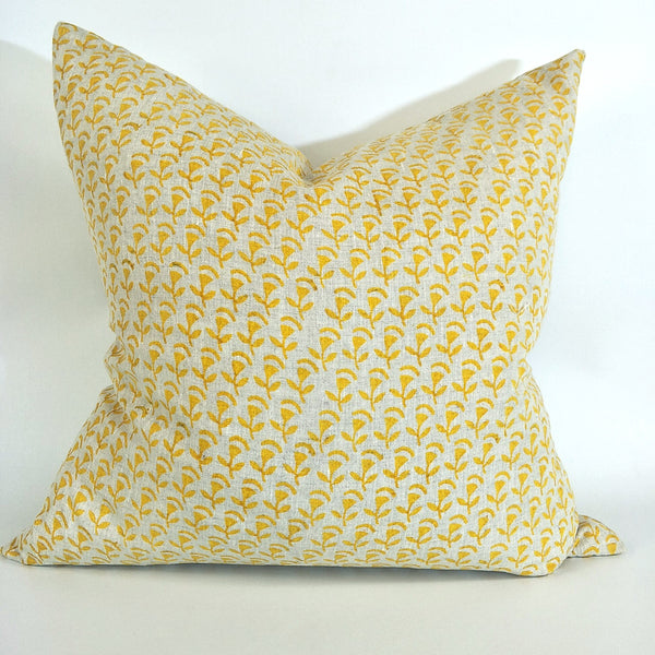 Hamar Mustard Artisan Block Printed Heavy Weight Pure French Linen Cushion 50cm Square - Feather Filled