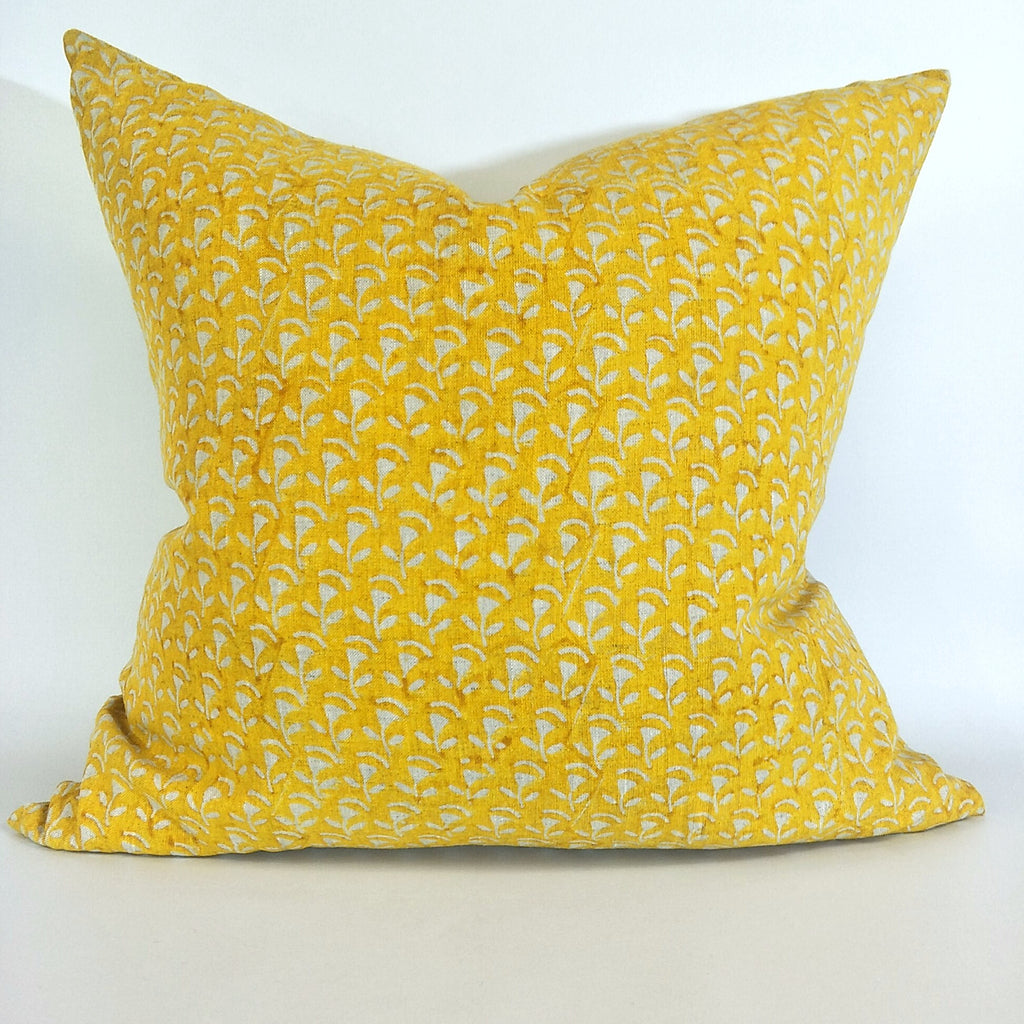 Belgrade Mustard Artisan Block Printed Heavy Weight Pure French Linen Cushion 50cm Square - Feather Filled