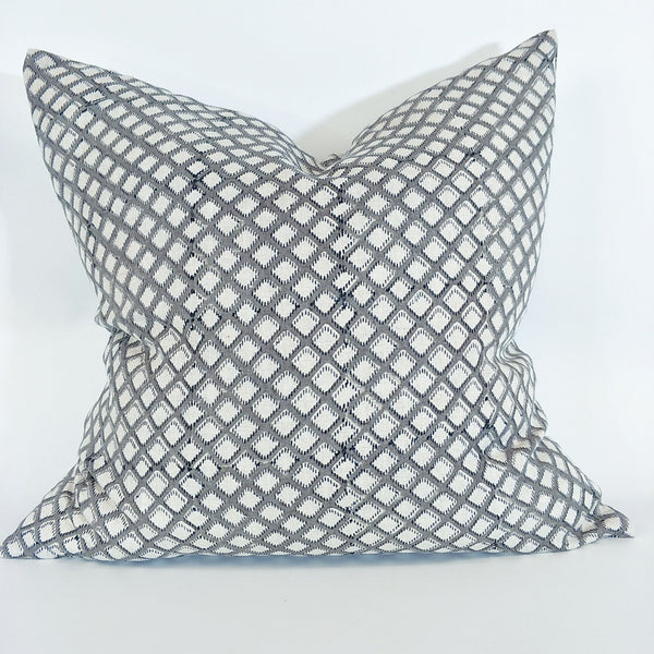 RESTOCK SOON - Odense Grey Artisan Block Printed Heavy Weight Pure French Linen Cushion 50cm Square - Feather Filled