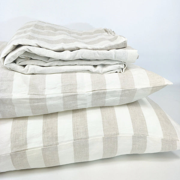 Cara Yarn Dyed Pure Stripe French Linen Duvet Cover Quilt Cover Set - Natural Stripe