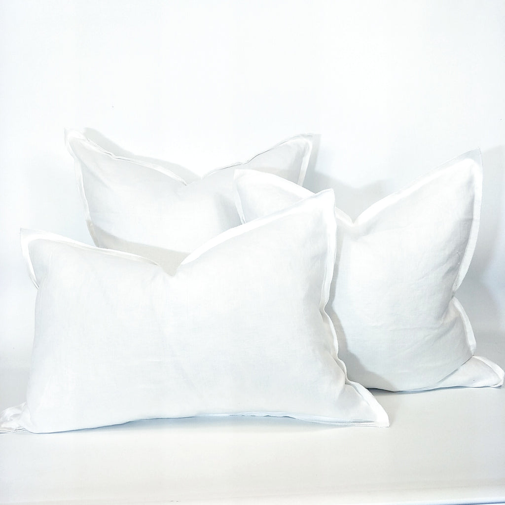 Provence Heavy Weight Pure French Linen Cushion in 3 Sizes - Plush Feather Filled - White