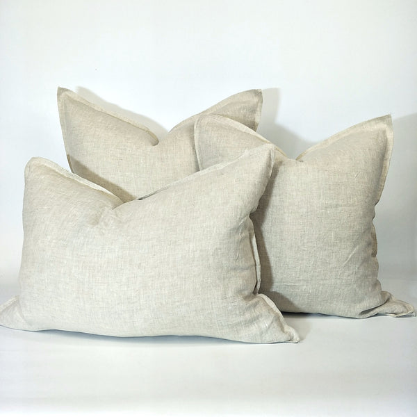 Provence Heavy Weight Pure French Linen Cushion in 3 Sizes - Plush Feather Filled - Natural