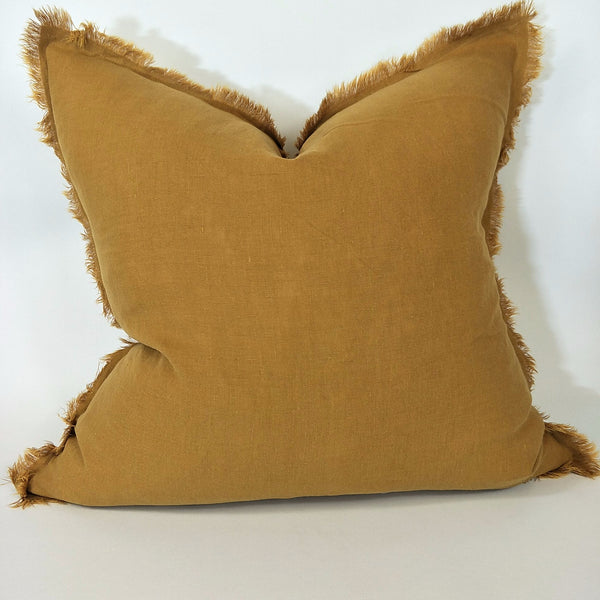 Hazelhurst 100% Pure French Linen Fringed Edge Cushion Square Feather Filled 50cm- Cinnamon