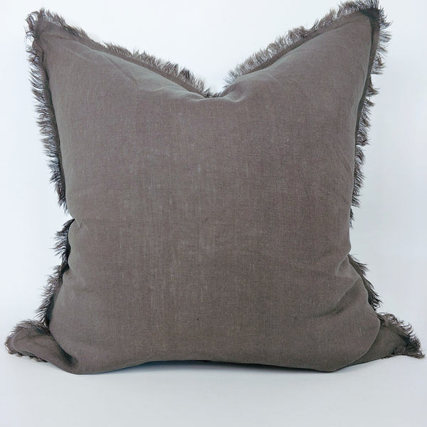 Hazelhurst 100% Pure French Linen Fringed Edge Cushion Square Feather Filled 50cm- Mocha