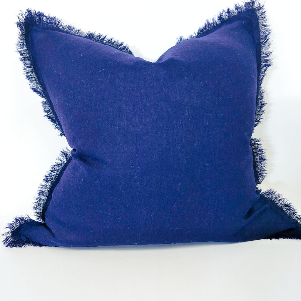 Hazelhurst 100% Pure French Linen Fringed Edge Cushion Square Feather Filled 50cm- Navy Blue