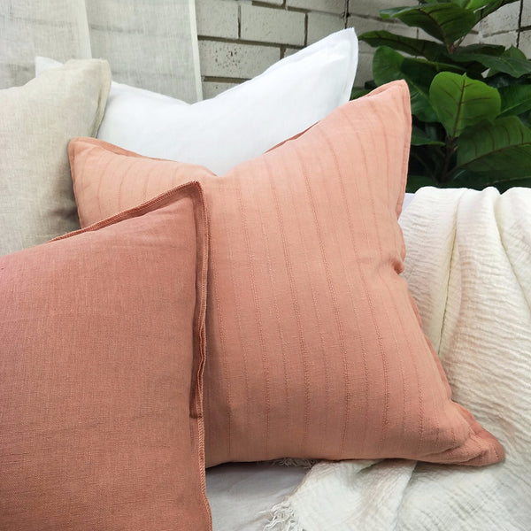 Glace Jacquard Heavy Weight Pure French Linen Cushion 50cmx50cm - Feather Filled -  Dolly Pink