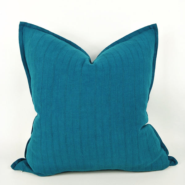 Glace Jacquard Heavy Weight Pure French Linen Cushion 50cmx50cm - Feather Filled - Teal