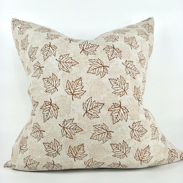 JAPANDI Maple Ochre Artisan Block Printed Heavy Weight Pure French Linen Cushion 50cm Square - Feather Filled