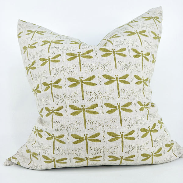 JAPANDI Dragon Fly Pickled Green Artisan Block Printed Heavy Weight Pure French Linen Cushion 50cm Square - Feather Filled