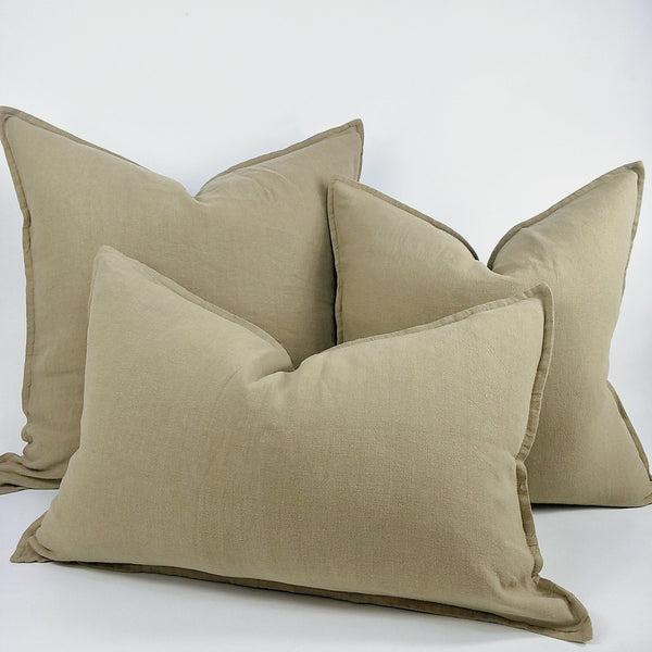 Reims Stonewashed Heavy Weight French Linen Cushion Feather Filled - Oak