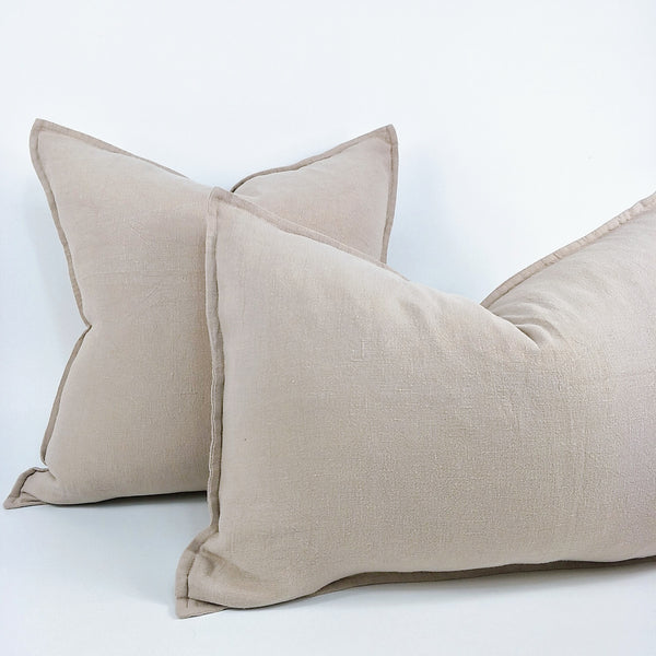 Reims Stonewashed Heavy Weight French Linen Cushion Feather Filled - Nude