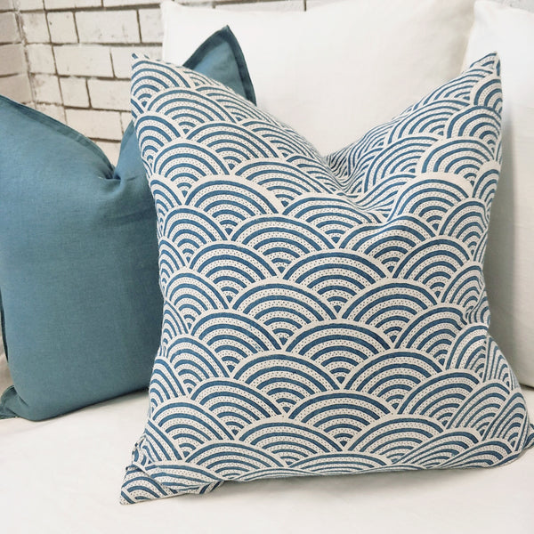 JAPANDI Waves Deep Blue Artisan Block Printed Heavy Weight Pure French Linen Cushion 50cm Square - Feather Filled