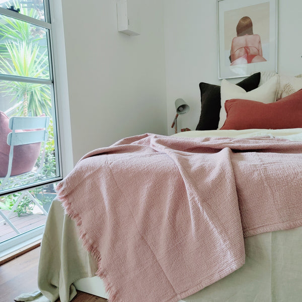 Faith Heavy Weight 100% Pure French Linen Bed Cover with Fringe Edge- Rose Pink