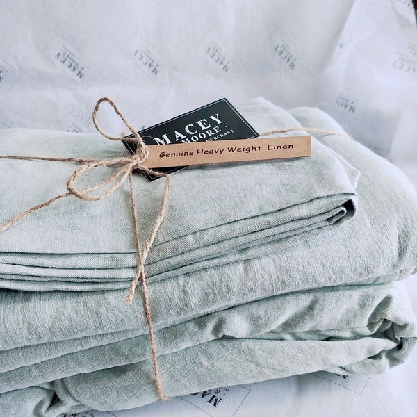Heavy Weight Pure French Linen Sheet Set Fitted Flat Sheet Set - Duck Egg Blue
