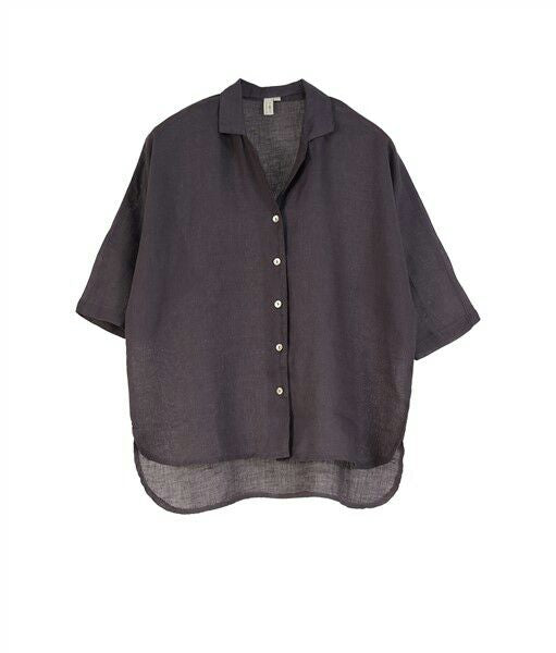 Poppy European Linen Short Sleeve Shirt- Anthracite