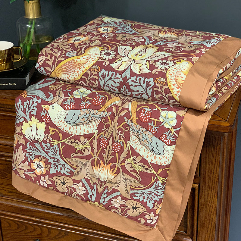 The Strawberry Thief by William Morris Tencel Bedcover-Red
