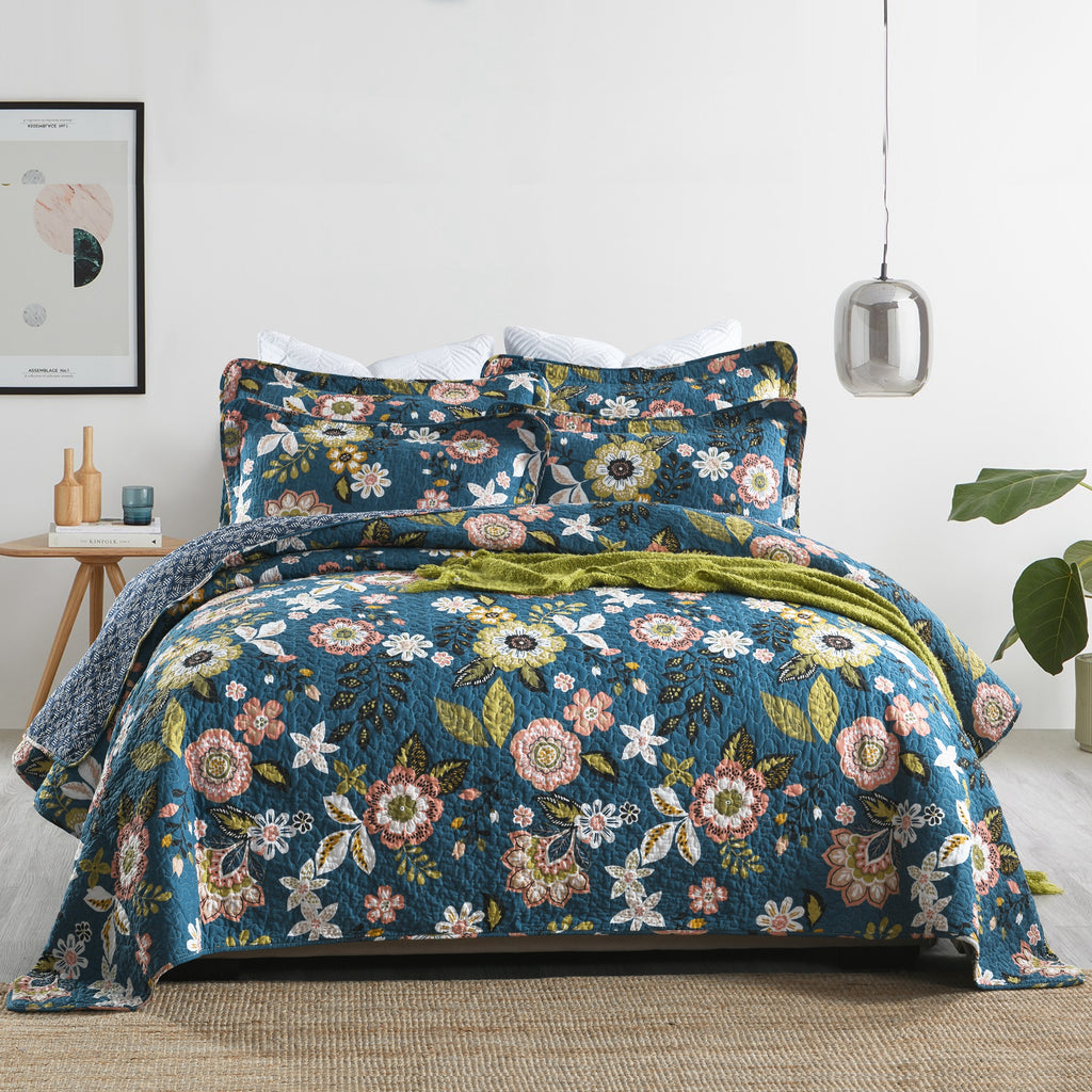 Aurora 100% Cotton Coverlet Bedspread Bedcover Set - Queen Size