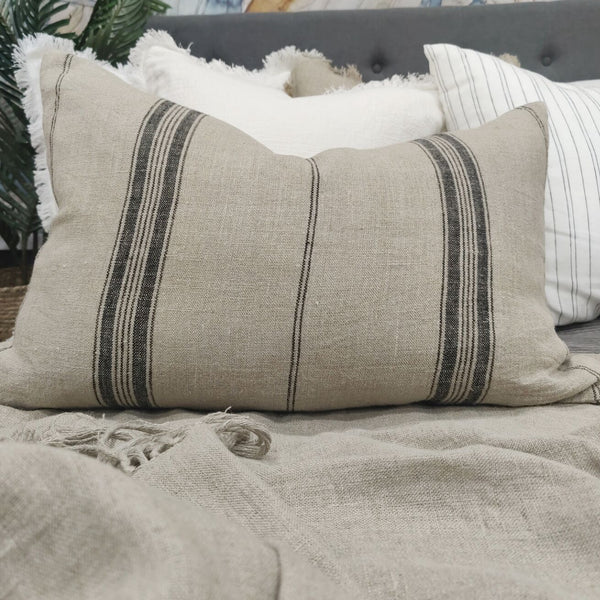 Campbell Heavy Weight Earthiness French Linen Striped Cushion Feather Filled 40x60cm Lumbar