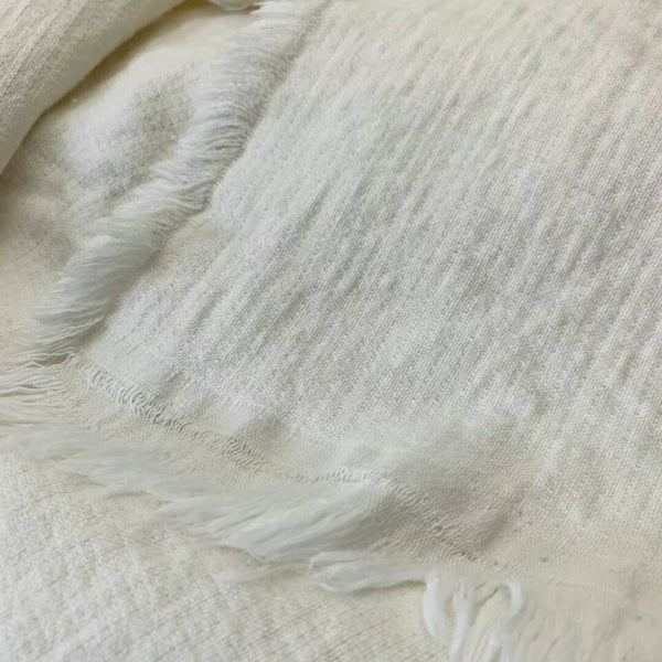 Faith Heavy Weight 100% Pure French Linen Bed Cover with Fringe Edge- Warm White