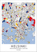 Progressive Nordic Living Map inspired by Art of Piet Mondrian Fine Print - Helsinki