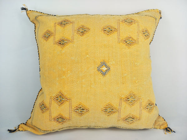 Casablanca Artisan Moroccan Cactus Silk Home Hand-Loomed Vegan Cushion