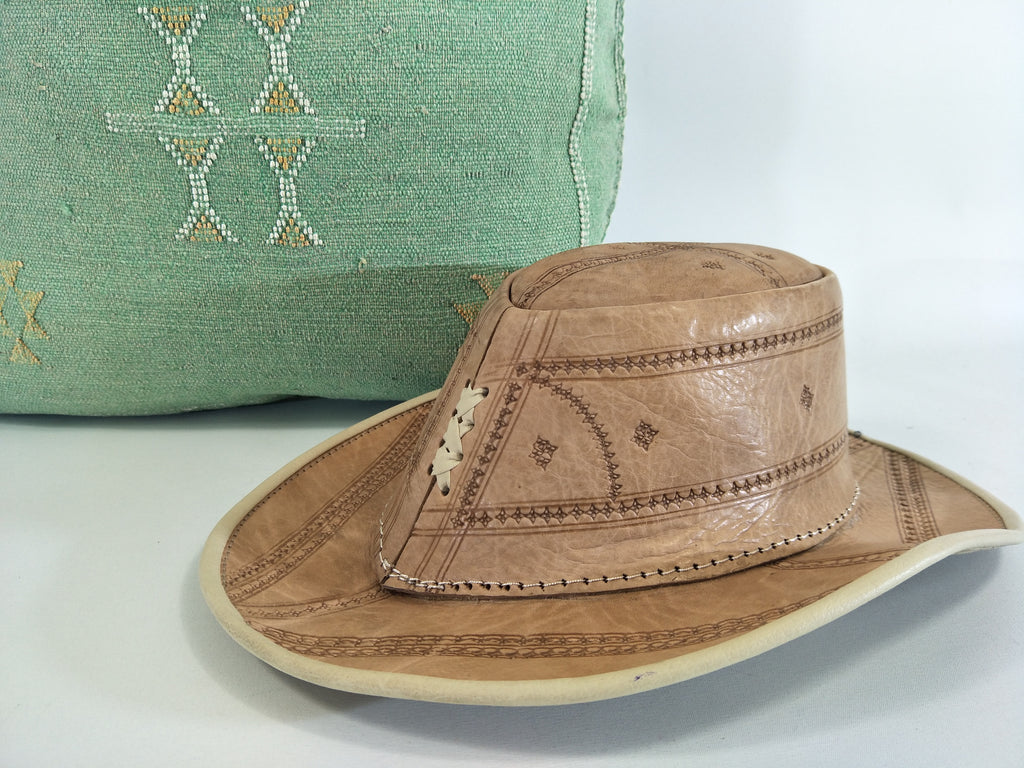 Artisan Moroccan Hand-made Hand-Stitched Leather Hat from Marrakech
