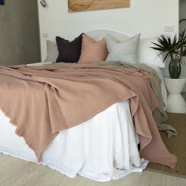 Faith Heavy Weight 100% Pure French Linen Bed Cover with Fringe Edge- Dusty Pink