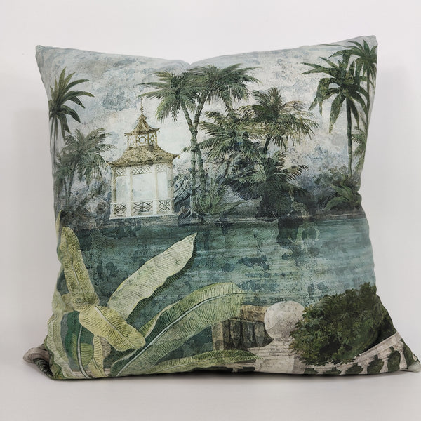 RocoColonial Velvet Cushion Feather Filled 50cm Square-  Siam