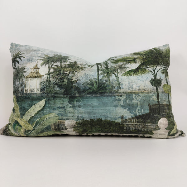 RocoColonial Velvet Cushion Feather Filled 40x60cm Lumbar - Siam