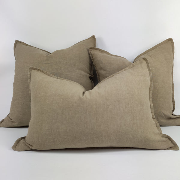 Reims Stonewashed Heavy Weight French Linen Cushion Feather Filled - Almond