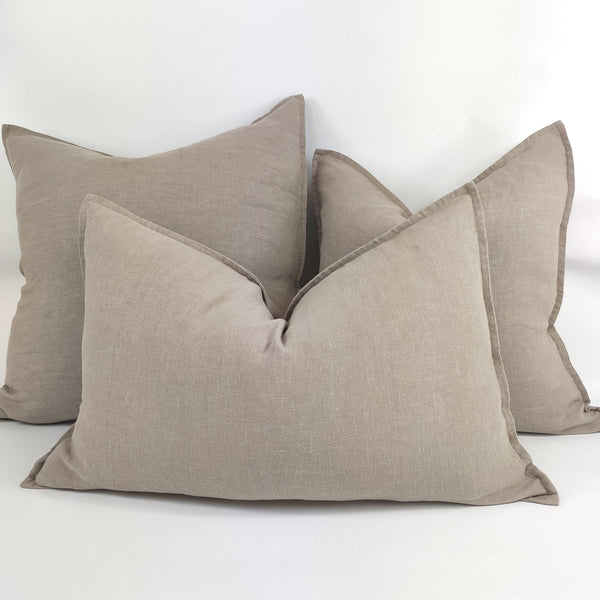 Reims Stonewashed Heavy Weight French Linen Cushion Feather Filled - Taupe