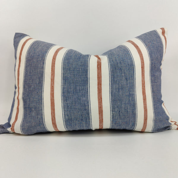 Chambry Yarn Dyed Pure French Linen Cushion 40x60cm Lumbar Feather Filled - Blue Red Striped