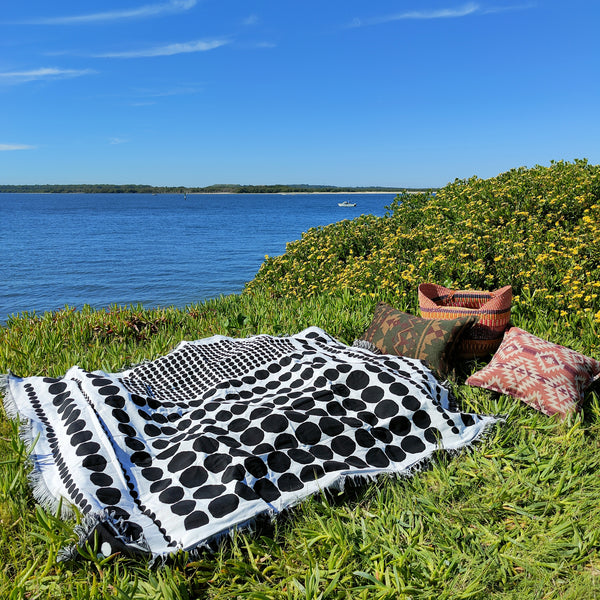 Woven Tapestry Picnic Rug Beach Blanket-  Spotty Fun