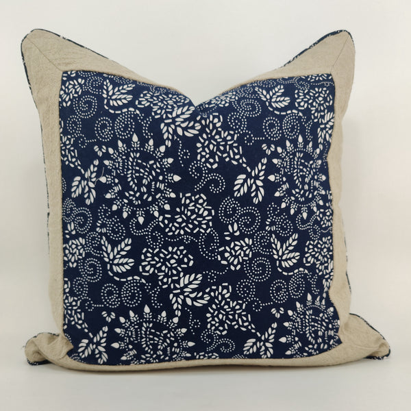 Chinoiserie Porcelain Blue Linen Cotton Cushion 55cm Square Feather Filled