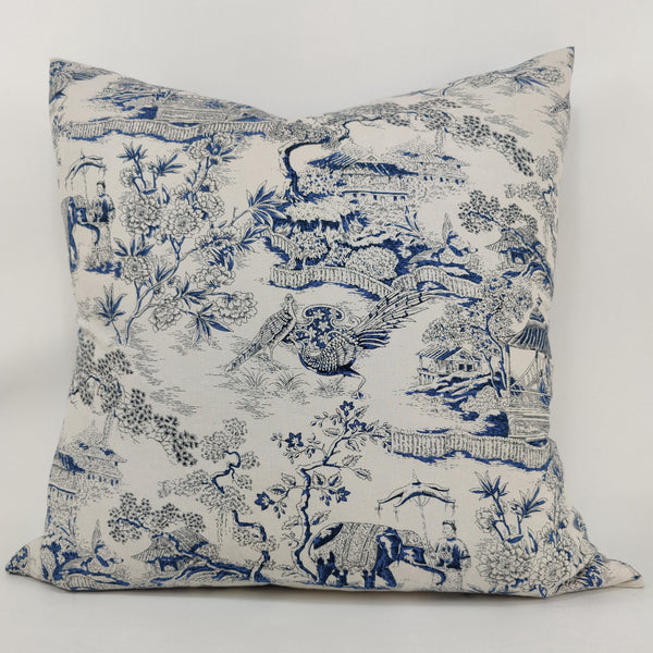 Chinoiserie Oriental Garden Linen Cotton Cushion 60cm Square Feather Filled