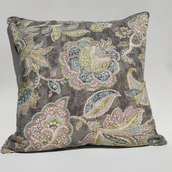 Designer Fabric by COVINGTON- Linen Cushion 55cm Square Feather Filled - Neoclassical Flower
